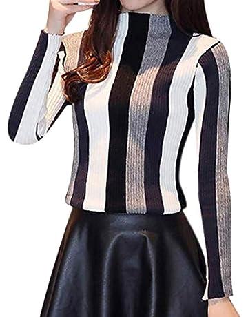 e879e669a225 Fangcheng Donna Maglie A Collo Alto Camicia Sottile Pullover Autunno A  Strisce Color Block Maglietta