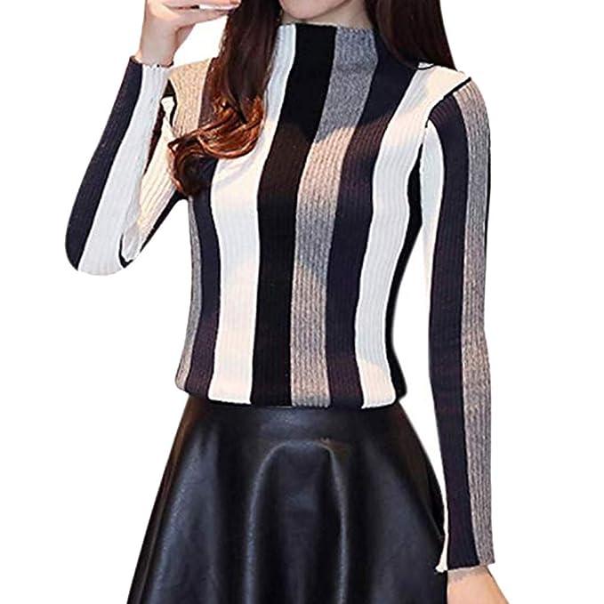 Mujer Tejer Sueter Elegante Raya Cuello Alto Otoño Manga Larga Fiesta Blusa Colorblock Delgada Camisetas: Amazon.es: Ropa y accesorios