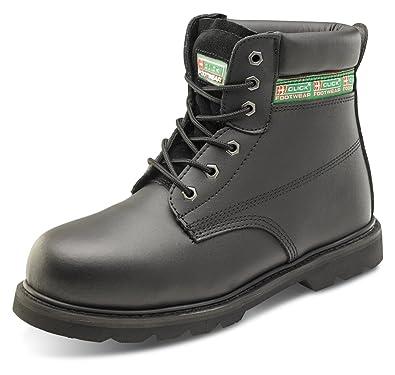 B-Click Footwear - Calzado de protección de cuero para hombre, color negro,