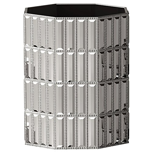 nu steel GLT8CH Glitz Collection Wastebasket, Round Vintage Trash Can for Bathroom, Bedroom, Dorm, College, Office, 8.5