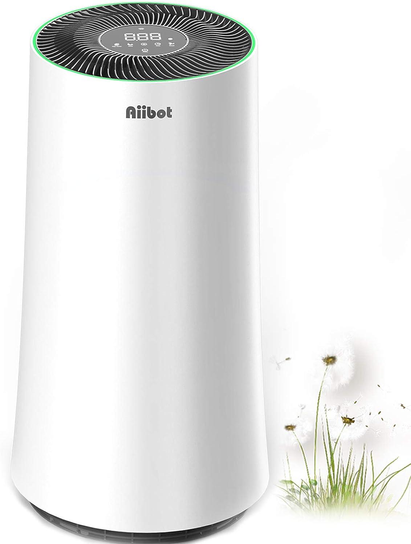 Aiibot Purificador de Aire para el hogar,120㎡,WiFi Control,Filtro de Aire con Filtro HEPA Verdadero,silenciosa,Temporizador,purificadores de Aire para alergias,Polen,olores de Fumar