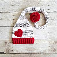 ec9c0d56b3745 Crochet Baby Valentine s Day Heart Stocking Cap Beanie Hat Striped Infant  Newborn Baby Toddler Child Adult