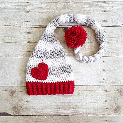 a4cf1ed9ec6 Crochet Baby Valentine s Day Heart Stocking Cap Beanie Hat Striped Infant  Newborn Baby Toddler Child Adult Handmade Photography Photo Prop Baby Shower  Gift ...