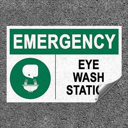 CGSignLab |''Eyewash -Emergency Sign'' Heavy-Duty Industrial Self-Adhesive Aluminum Wall Decal | 18''x12'' by CGSignLab