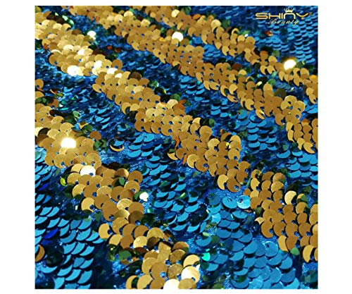 Mermaid Fabric Aqua and Gold 6 Feet 2 Yards Shimmer Flip Fabric Color Change Sequin Fabric for Bridal Gown/Dress/Evening Costume Dress/Throw Pillow Cover/Wedding Decoration ~190524S ()