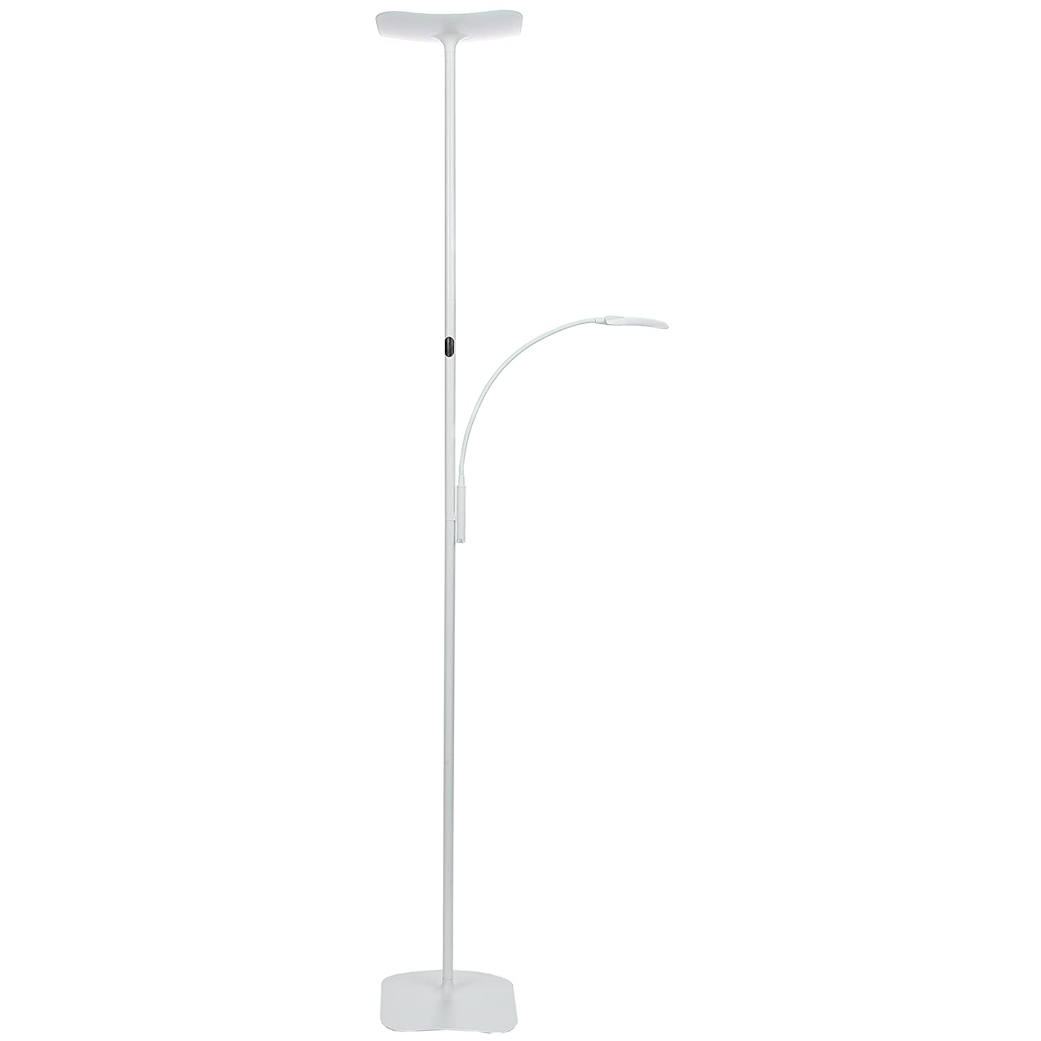 Brightech SKY Plus- LED Torchiere Floor Lamp – 33 W Energy Saving, Dimmable, Adjustable, Reading Lamp– Modern Tall Standing Pole Uplight for Light Living Room, Dorm, Bedroom or Office –Platinum Silver sky plus silver