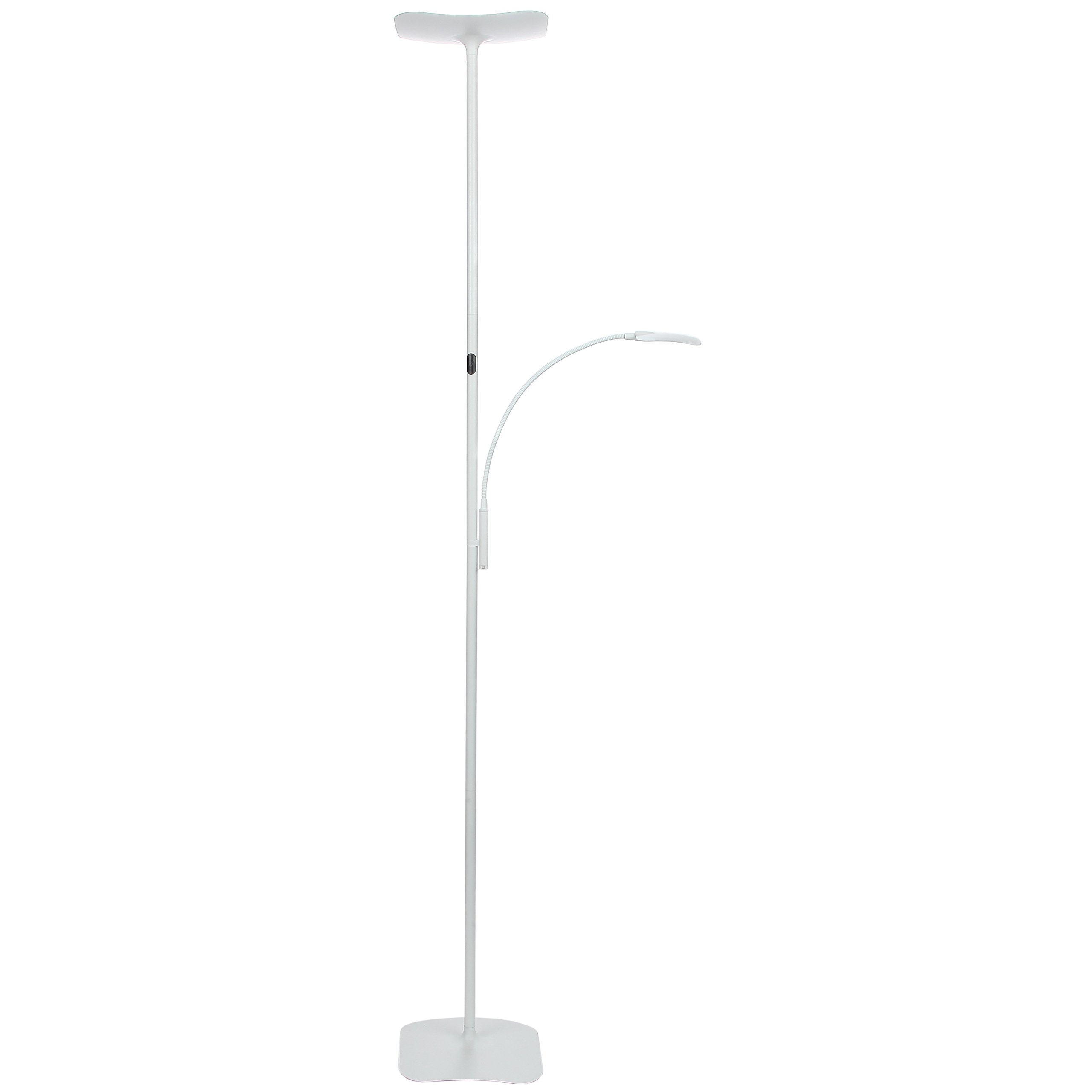 Brightech Sky Plus- LED Torchiere Floor Lamp – 33 W Energy Saving, Dimmable, Adjustable, Reading Lamp– Modern Tall Standing Pole Uplight for Light Living Room, Dorm, Bedroom or Office – Alpine White
