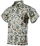 Funny Guy Mugs Mens Pirate Hawaiian Print Button Down Short Sleeve Shirt, Medium