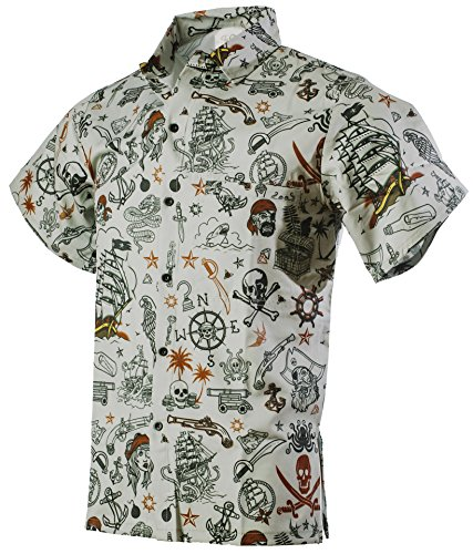 Funny Guy Mugs Mens Pirate Hawaiian Print Button Down Short Sleeve Shirt, (Men's Pirate Clothing)