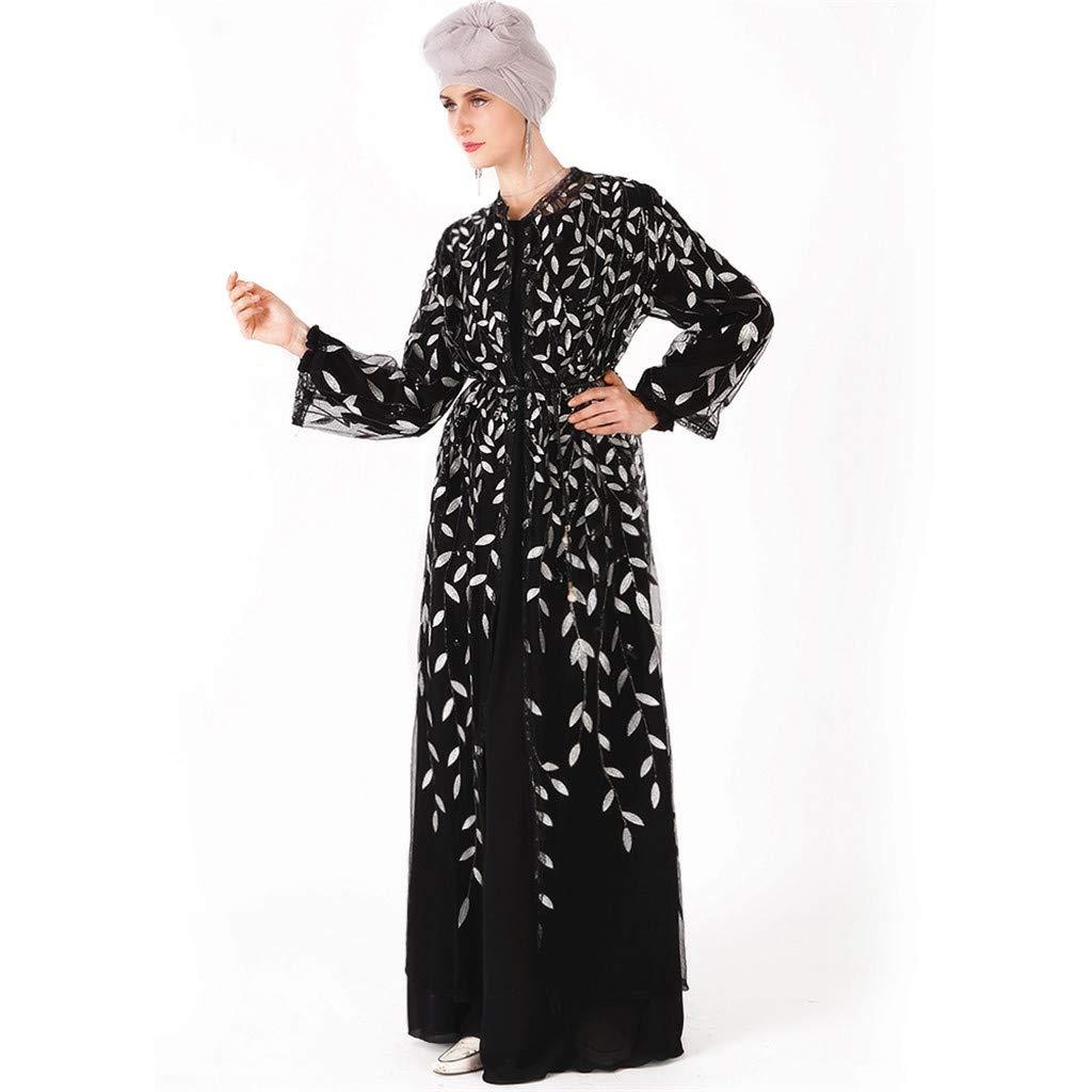 YKARITIANNA Muslim Women Dress Islamic Long Sleeve Maxi Abaya Kaftan Arab Clothes White