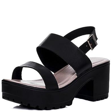 e11578a24b56 Platform Cleated Sole Block Heel Sandals Pumps Shoes Black Leather Style SZ  5
