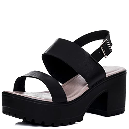 2f2a49b6a8e4f Platform Cleated Sole Block Heel Sandals Shoes Black Leather Style SZ 3