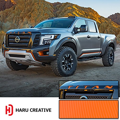 Haru Creative - Front Hood Grille Emblem Letter Insert Overlay Vinyl Decal Stickers Compatible with and Fits Nissan Titan XD 2016 2017 2018-4D Carbon Fiber Orange
