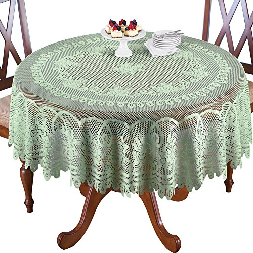 Crochet Lace Floral Tablecloth, Sage Green, 70