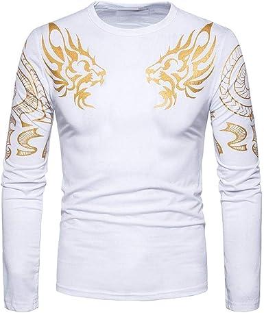 Camisa De Manga Larga con Estampado De Camisa Dragón para Hombre De Cómodo Cort: Amazon.es: Ropa y accesorios