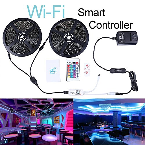 Miheal Wifi Wireless Smart Phone Controlled Led Strip Light Kit With Dc12v Ul Listed Power Supply Waterproof Smd 5050 32 8Ft 10M  300Leds Rgb Music Led Light Strip Work With Android  Ios And Alexa