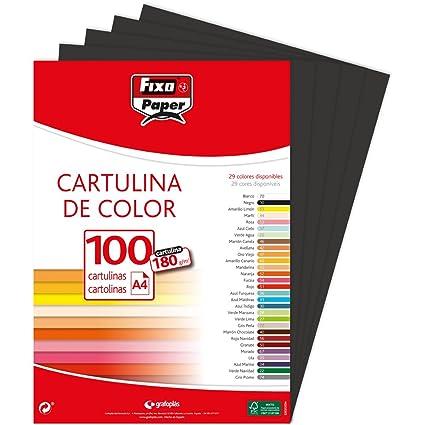 Fixo Paper 11110410 – Pack de 100 – Cartulina negra A4, 180g