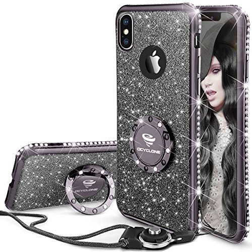 iPhone X Case, Cute Glitter iPhone X Case for Women with Kickstand, Bling Diamond Rhinestone Bumper With Ring Stand Thin Soft Protective Sparkly for Apple iPhone X Case for Girls Women - Mauve Black