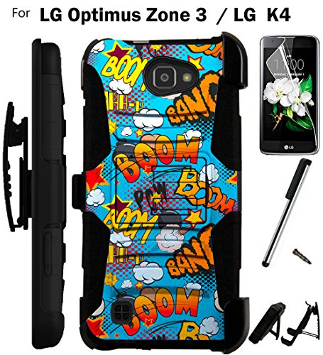 For LG Optimus Zone 3 Phone Case (Verizon) Armor Hybrid Rugged Silicone Cover Kick Stand LuxGuard Holster+LCD Screen Protector+Stylus (Comic Boom Teal/Black)