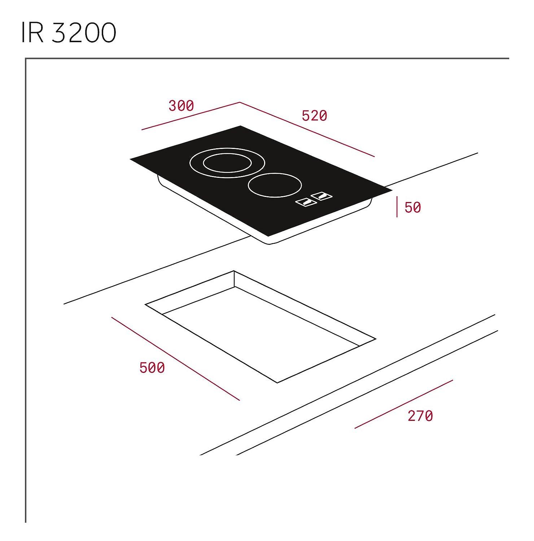 Teka IR 3200 Integrado Cerámico Negro - Placa (Integrado, Cerámico, Vidrio, Negro, 1800 W, 14,5 cm)