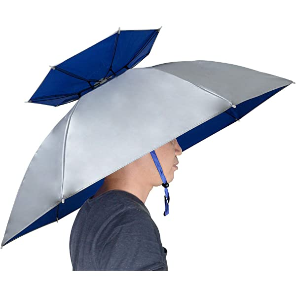 Foldable Sun Rain Umbrella Hat Headwear Cap Head For Fishing Hiking-Camping W8W0