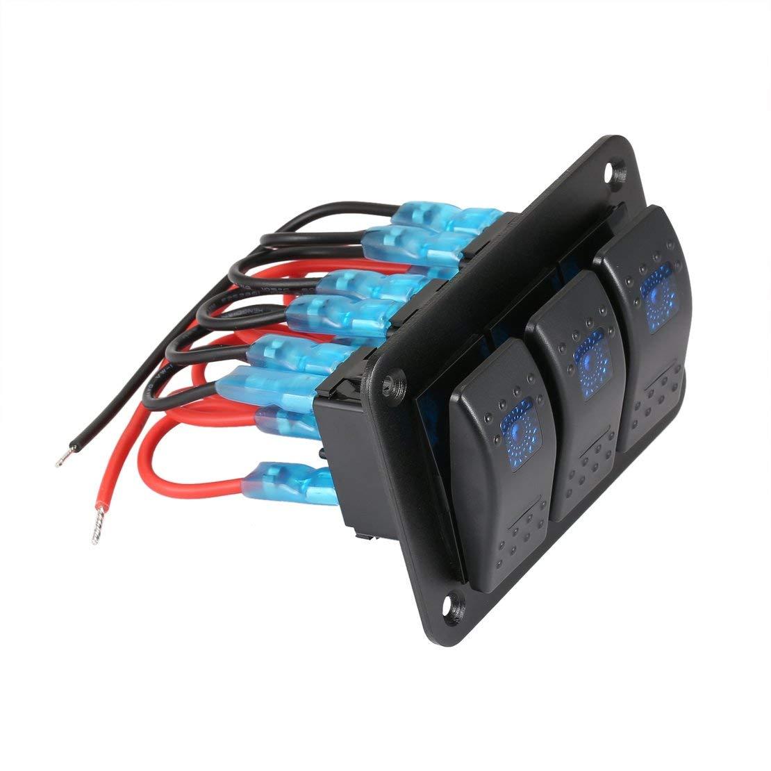 Nero e rosso e blu 3 Gang Car Marine Boat Caravan LED Pannello interruttori Interruttore a bilanciere professionale Interruttore a bilanciere Interruttore circuito impermeabile