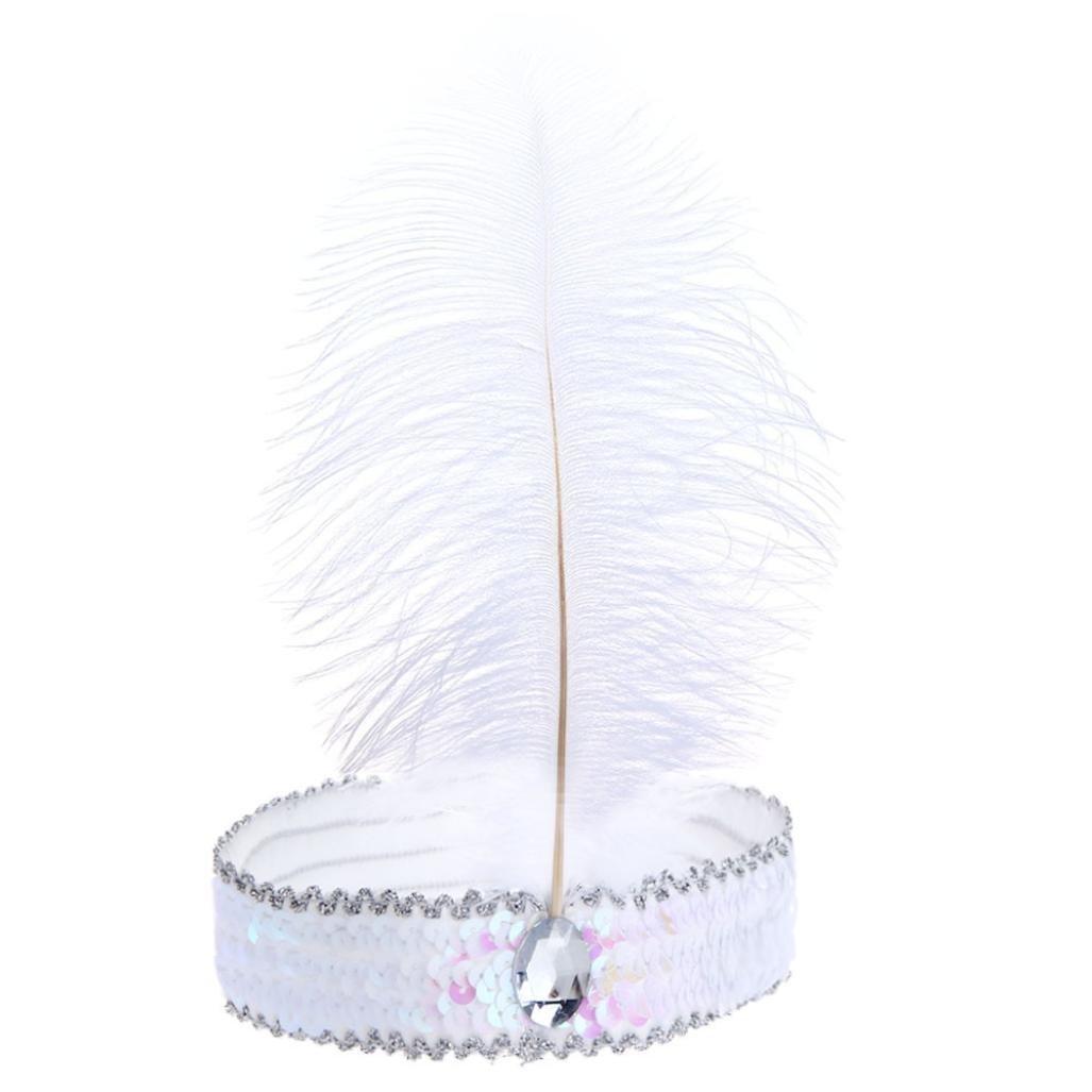 BODYA Headband 20's Deluxe white pink Flapper Sequin Charleston Dress Costume Hairband Headpiece JW2590