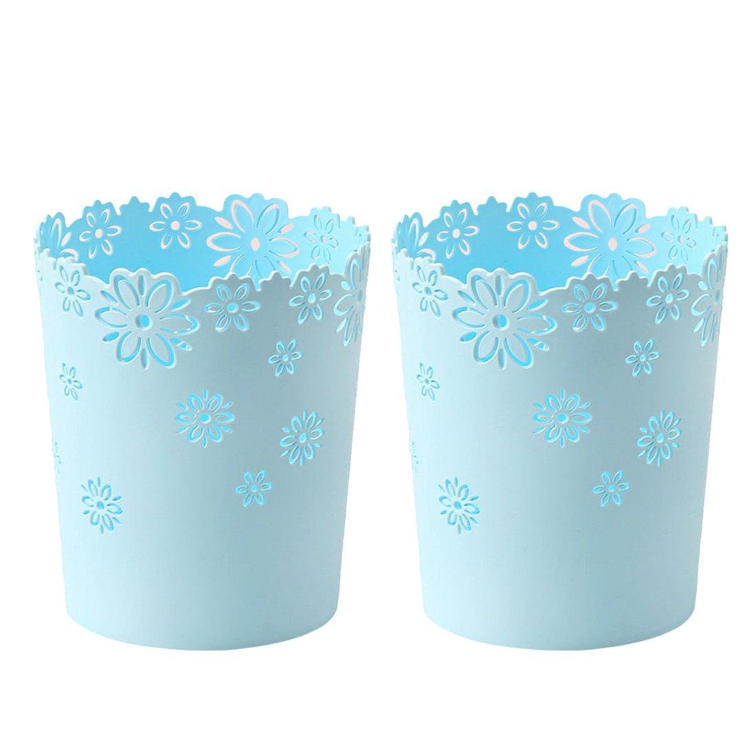 Waste Paper Baskets, XSHION Trash Can Garbage Bin Plastic without Lid for Bedroom /Kitchen /Bathroom /Office /Desktop (Blue 2 Pack)