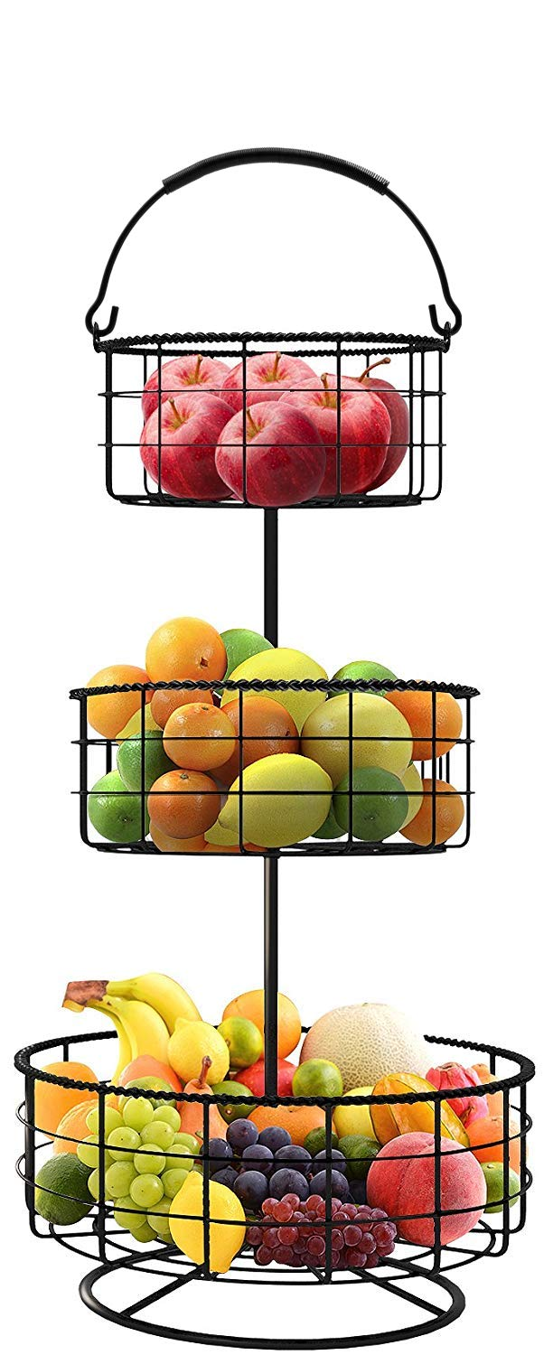 Sorbus Countertop Fruit Basket Holder & Decorative Tabletop Bowl Stand -Also Perfect for Vegetables, Snacks, Household Items, 3 Tier Black by Sorbus