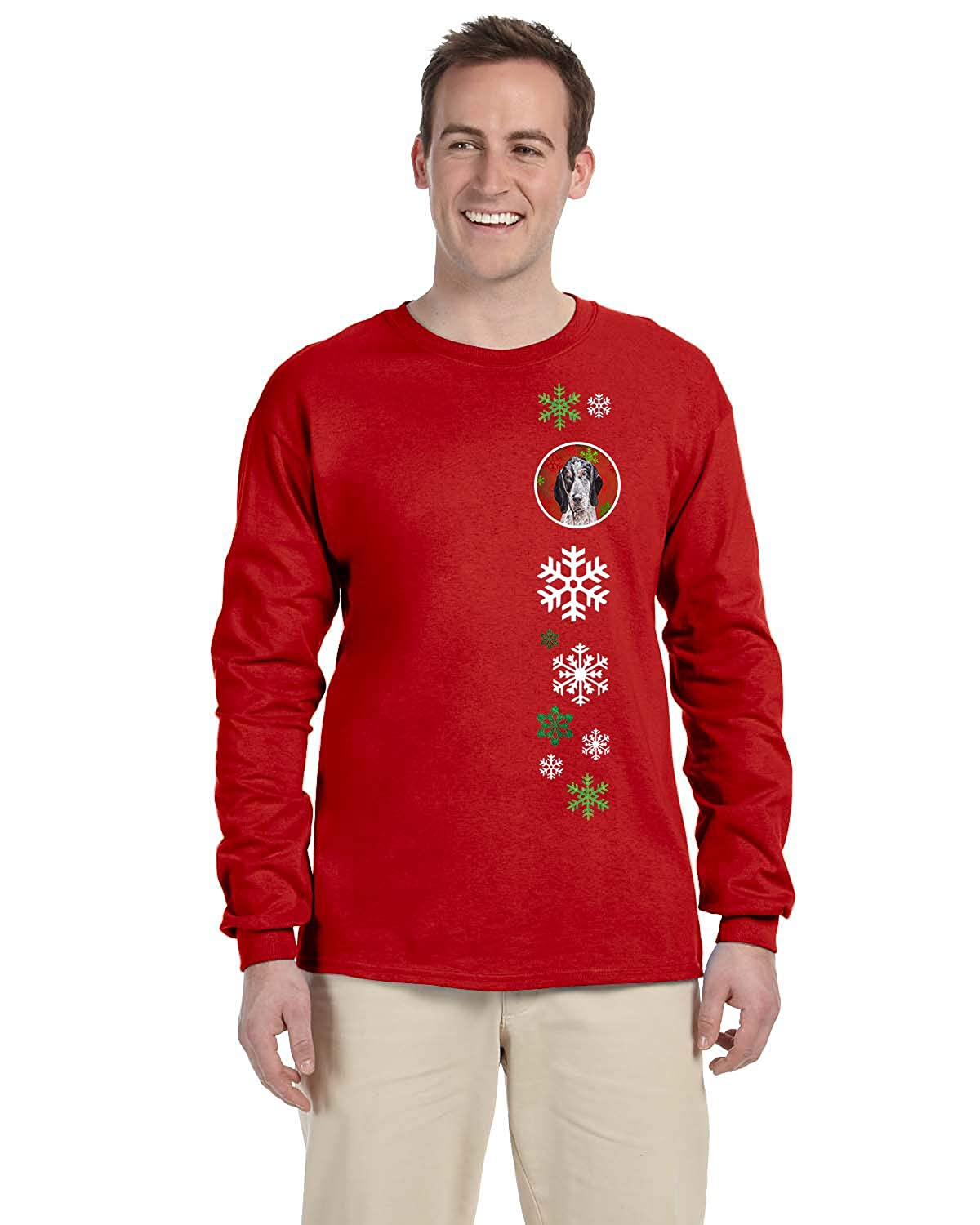 Multicolor XL Carolines Treasures SC9745-LS-RED-XL Blue Tick Coonhound Red Snowflakes Holiday Long Sleeve Red Unisex Tshirt XL