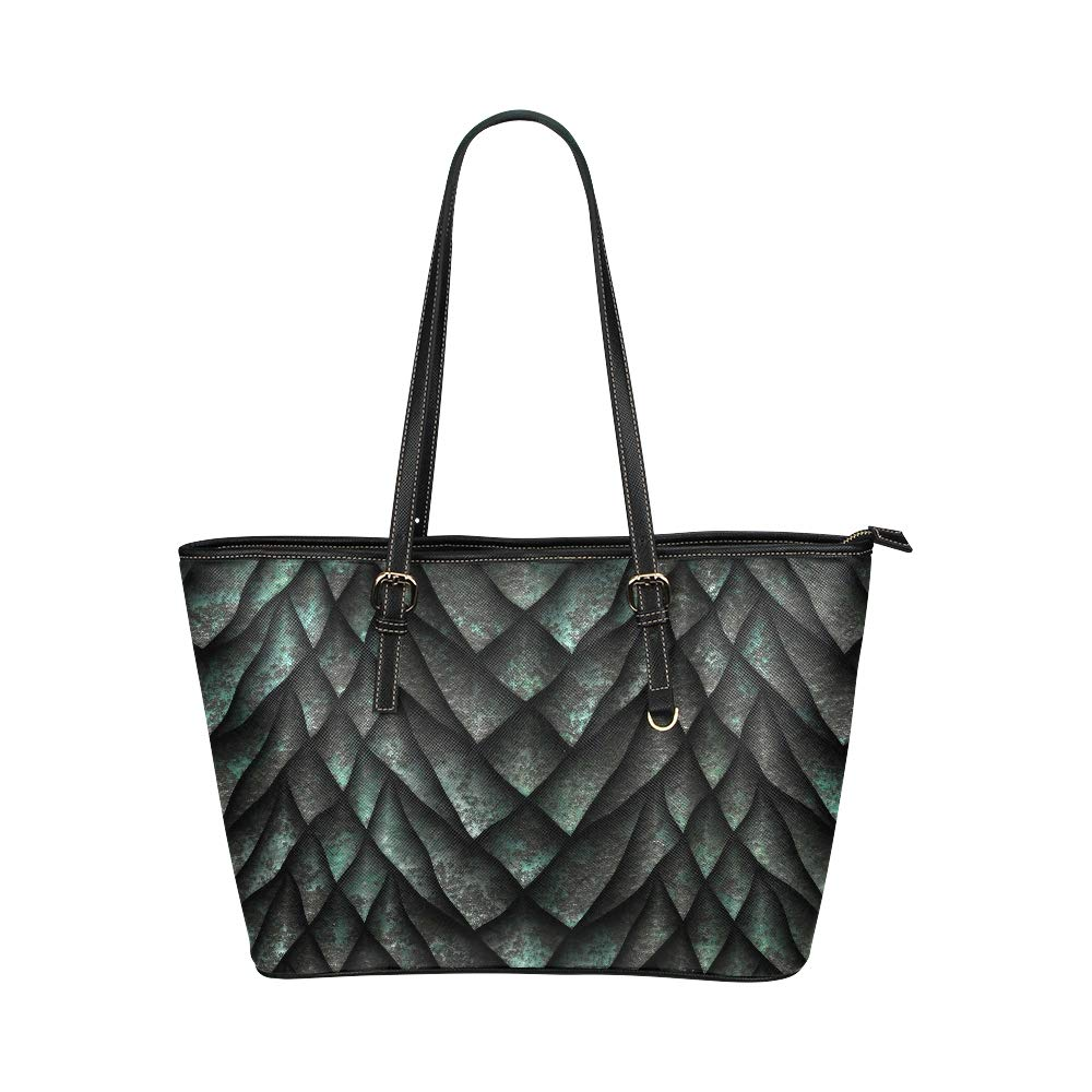 Chinese Dragon Scale Metallic Texture Large Soft Leather Portable Top Handle Hand Totes Bags Causal Handbags With Zipper Shoulder Shopping Purse Luggage Organizer For Lady Girls Womens Work
