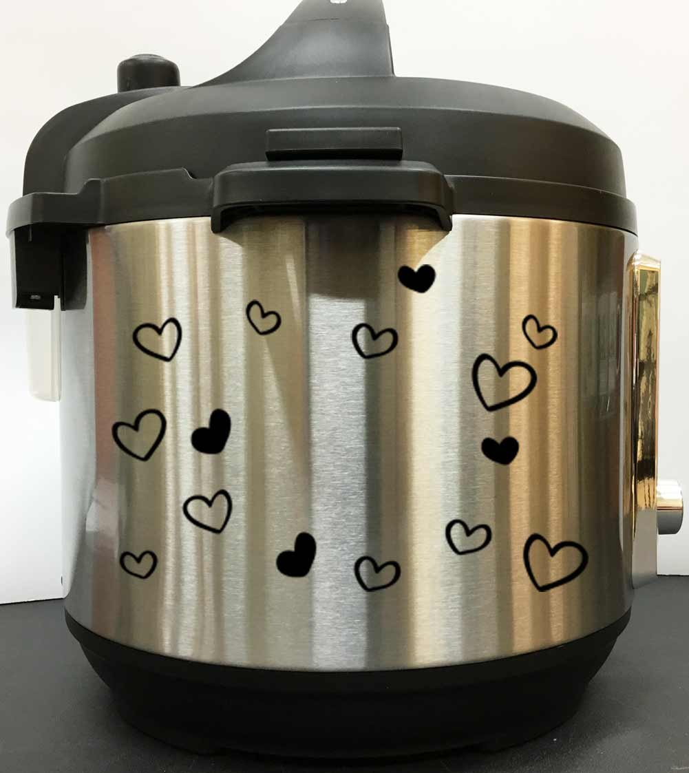 Cute Hearts Art Decal Sticker - Black Vinyl Decal Sticker for Instant Pot Instapot Pressure Cooker