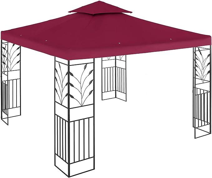 Uniprodo Pérgola De Metal Pabellón para Jardín Uni_PERGOLA_3X3R (Dimensiones: 3 x 3 m, Resistente a radiación Ultravioleta e Impermeable, 180 g/m², Color Tinto): Amazon.es: Jardín