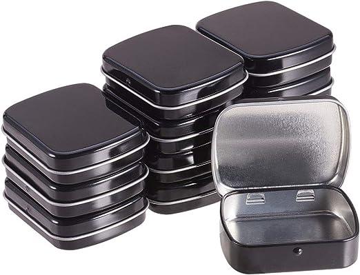 BENECREAT 12 Pack Caja Portátil de Metal Bote Negro con Tapa ...