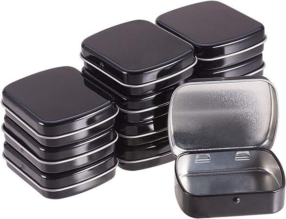 BENECREAT 12 Pack Caja Portátil de Metal Bote Negro con Tapa Conectada Rectángula Contenedor Pequeña de Hierro de Almacenamiento de Caramelos, Monedas, Agujas, Pastillas: Amazon.es: Hogar