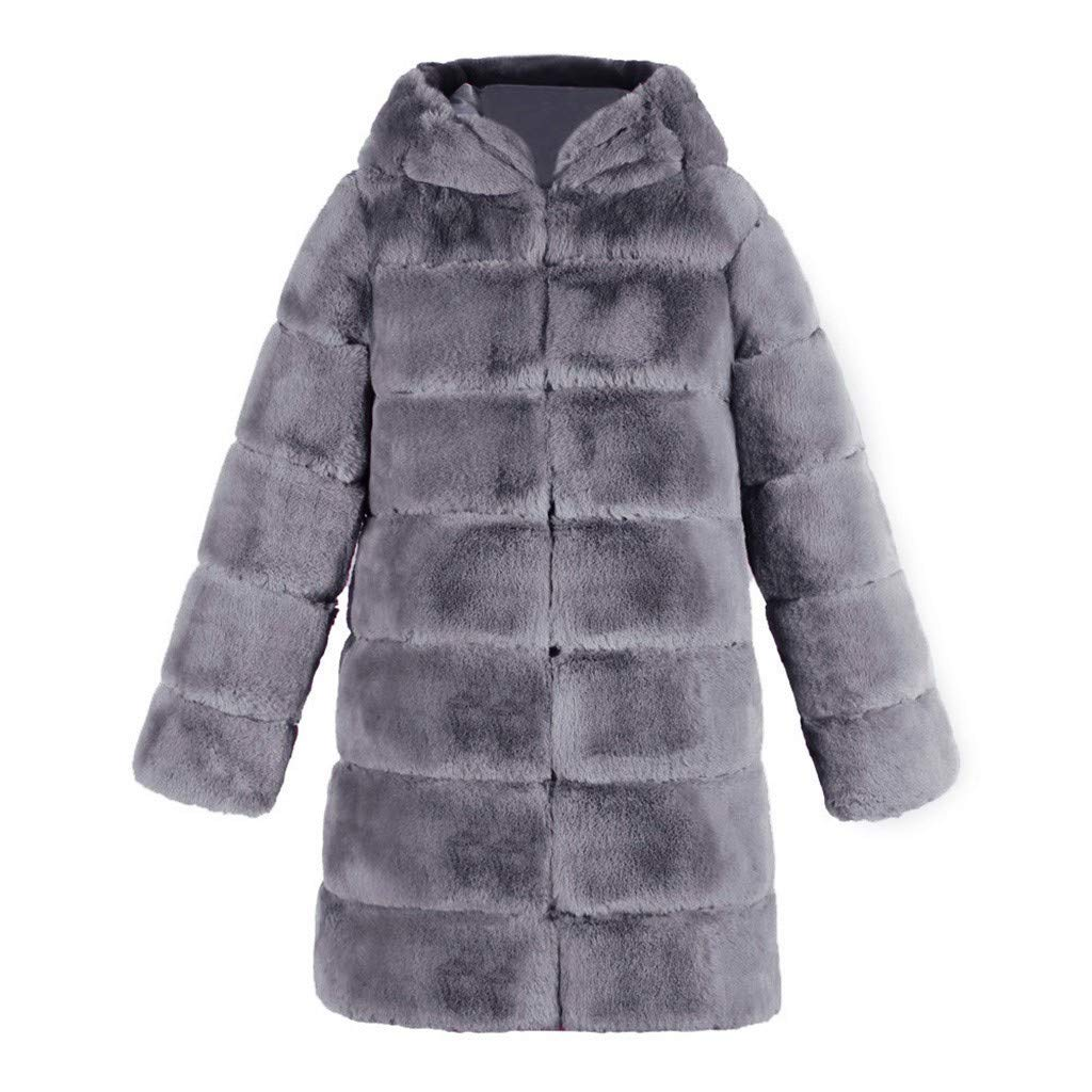 Sumeimiya Womens Thick Faux Fur Coats Hood Warm Thicke Parka Jackets Winter Plus Size Casual Outdoor Anorak Overcat Gray by Sumeimiya