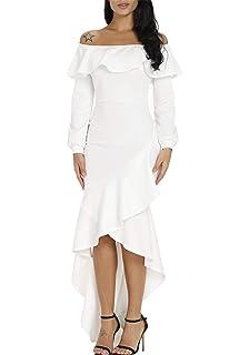 587aef785 Sidefeel Women Off The Shoulder Ruffle Long Sleeve Mermaid Formal Dress