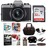 Fujifilm X-T100 Mirrorless Camera w/XC15-45mm F3.5-5.6 OIS PZ Lens (Gold) w/Editing Software and Memory Card Bundle