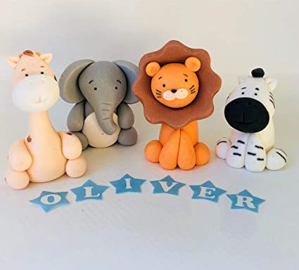 Animals Jungle Cake Toppers Edible Icing Personalised Birthday Decorations Unofficial Amazoncouk Kitchen Home