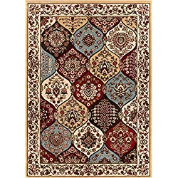 "Dynasty Panel Ivory Multi Oriental Floral Geometric Modern Area Rug 8x10 8x11 ( 7'10"" x 9'10"") Easy Clean Stain Fade Resistant Shed Free Contemporary Formal Lattice Trellis Soft Living Dining Room Rug"