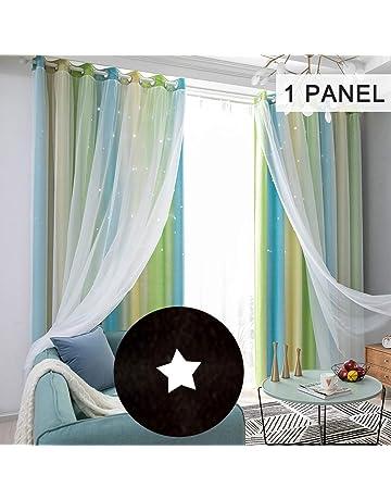 mewmewcat Star Tende Stelle Tende oscuranti per Bambini Ragazze Camera da Letto Soggiorno Colorato Doppio Strato Tende per finestre a Stella