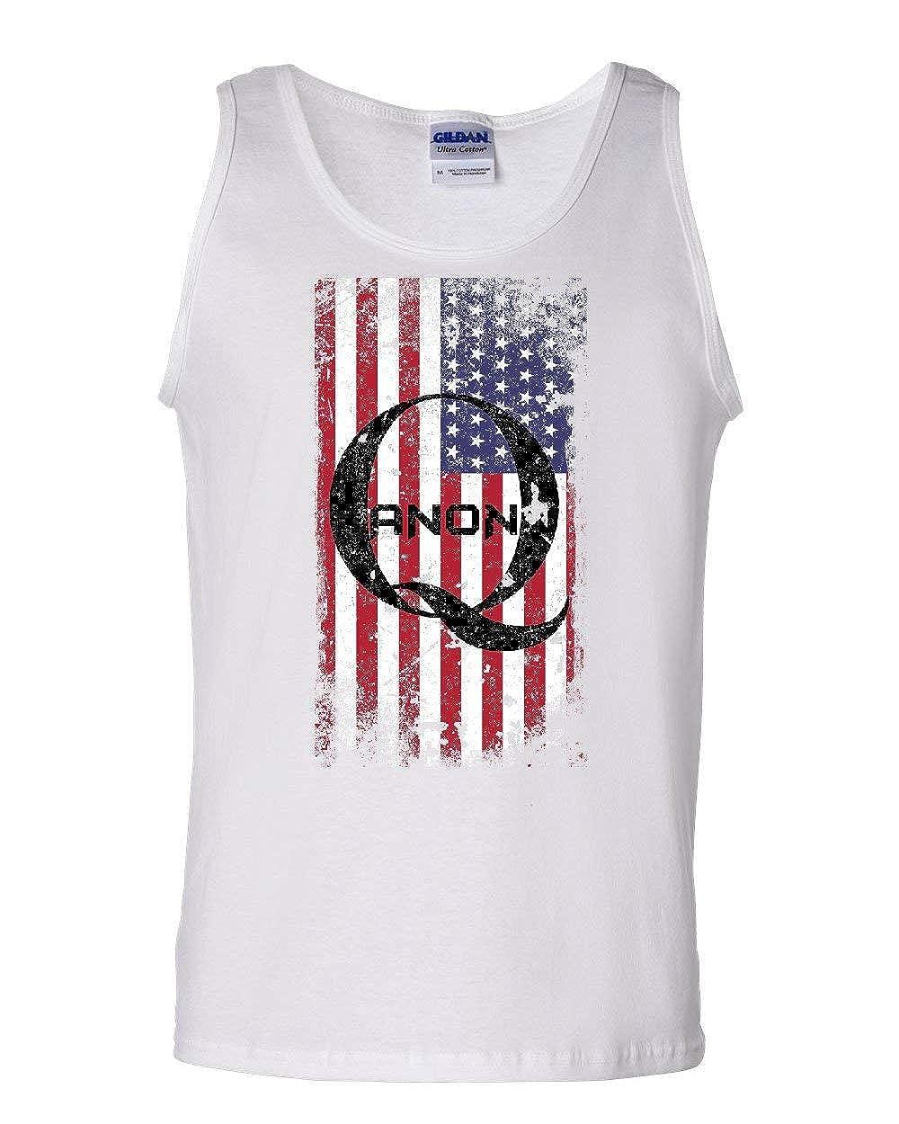 Distressed American QANON Flag Tank Top The Great Awakening USA Sleeveless