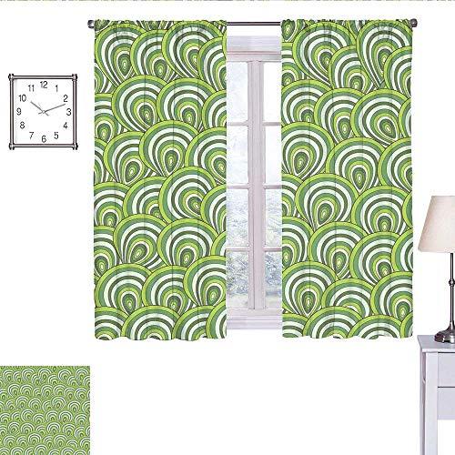alisoso Feather Bedroom Curtains Peacock Design with Bullseye Circles Pattern in Green Shades Wildlife Doorway Curtain Apple Green Fern Green W55 x L63 (Light Plum Bullseye)