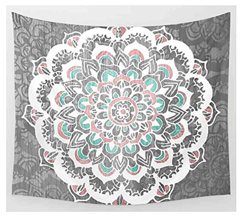 (MuNiSa Hippie Tapestry,Bohemian Mandala Wall Hanging,Psychedelic Intricate Wall Decor,Boho Hippie Bedspread Beach Coverlet Curtain,83