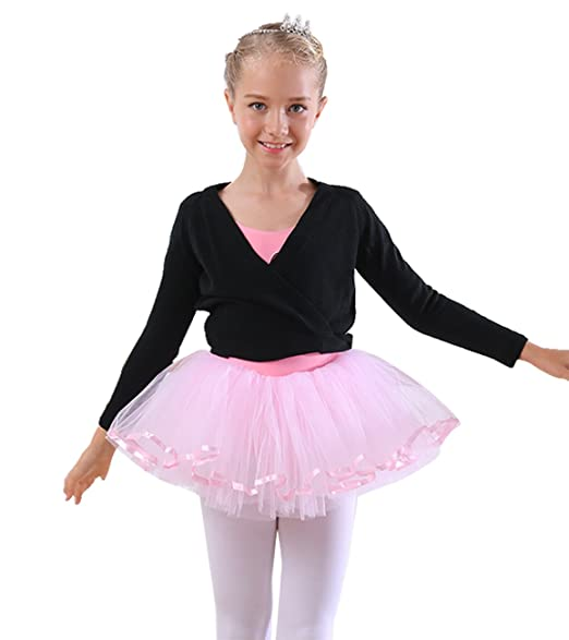 cc1669c281352 Baby Girl Dance Ballet Knit Wrap Top Long Sleeve Dancing Sweater Cardigan -  Small, Black