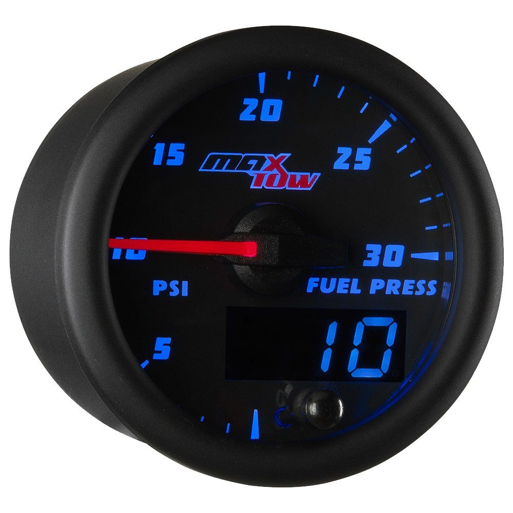 MaxTow Double Vision 30 PSI Fuel Pressure Gauge Kit - Includes Electronic Sensor - Black Gauge Face - Blue LED Illuminated Dial - Analog & Digital Readouts - for Diesel Trucks - 2-1/16'' 52mm