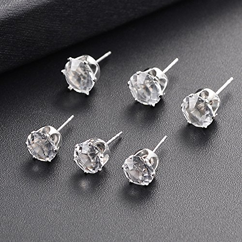 Black Haodou 6 Pairs Elegant Silver Alloy Zirconia Studs Earrings Set Crystal Cubic Ear Stud Earings for Women Wedding Party Daily Use