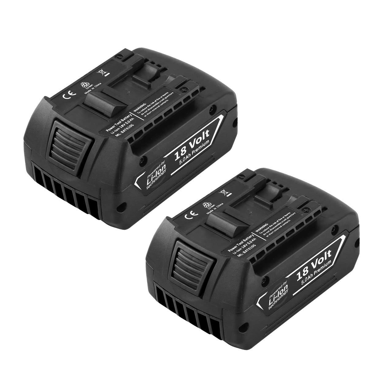Forrat Replacement for Bosch 18V Battery 5.0Ah Lithium ion Compatible for Bosch BAT609 BAT612 BAT619G BAT620 SKC181-02 for Bosch 18 Volt Batteries 2Packs by Forrat