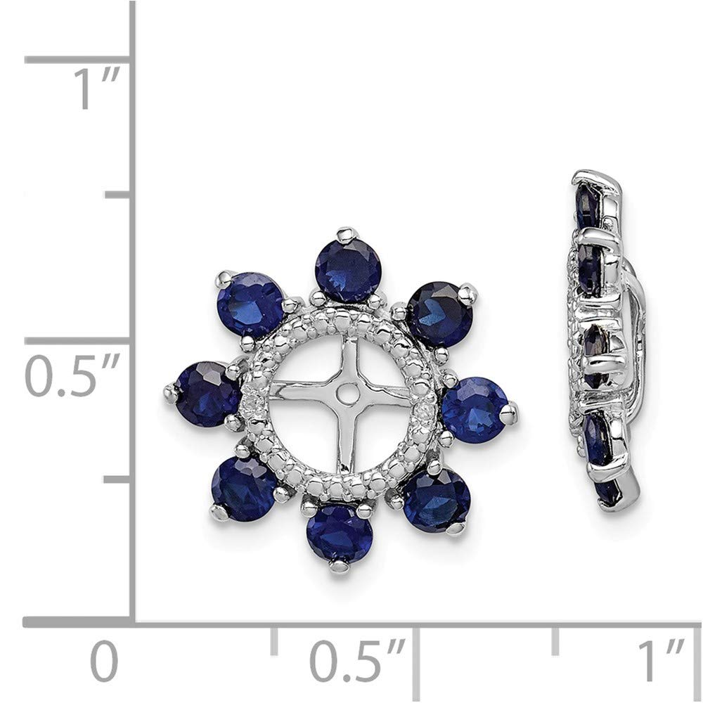 FB Jewels Solid Sterling Silver Rhodium Diamond /& Created Sapphire Earring Jacket