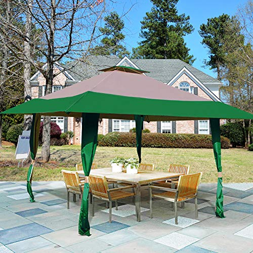 Homevibes 13' x 13' Pop Up Canopy Outdoor Patio Gazebo Tent Double Roof Easy Set Up Canopy Tent with Carry Bag for Garden, Yard, Party Event (Hunter Green - Garden Gazebo Party Green